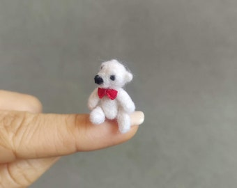Tiny white teddy jointed bear OOAK Needle felted weeny- articulated, miniature bear dollhouse-ready to ship