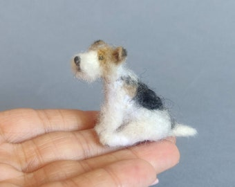 Needle-Felted dog Wire Haired Fox Terrier- doll house miniature dog 1:12-6 scale- Ooak toy, collectibles, sculpture, puppy