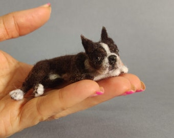 Miniature dog- Ooak Needle Felted Boston terrier-eco friendly art-Collectible soft sculpture - palm size realistic animal figurine- portrait