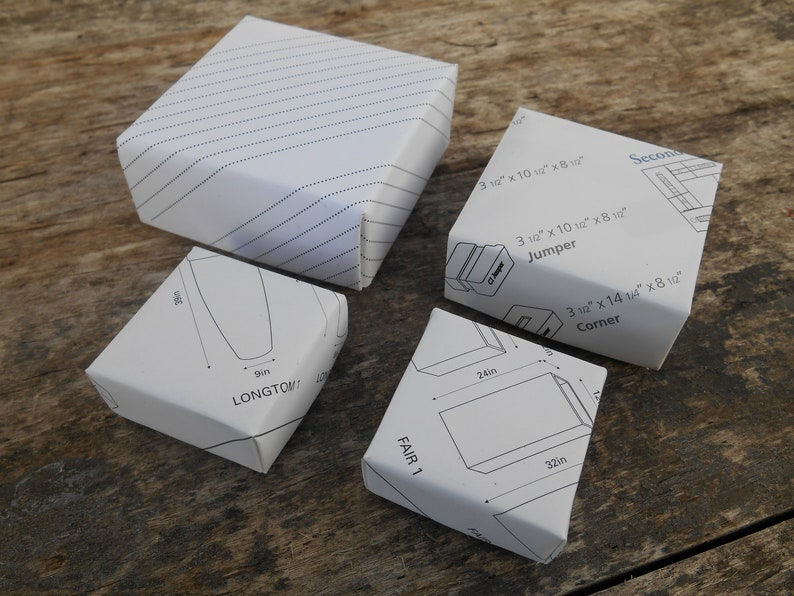 Lot Of Four Handmade Origami Gift Boxes 1 Medium 1 Medium Small And 2 Small Black And White Catalog Pages Jewelry Gift Boxes