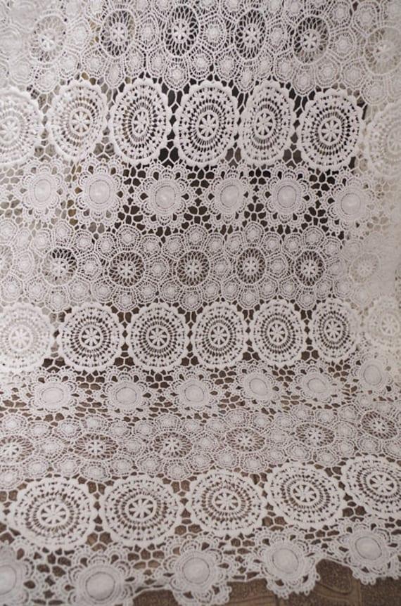 de la tela del cordón del guipur del algodón blanco encaje | Etsy