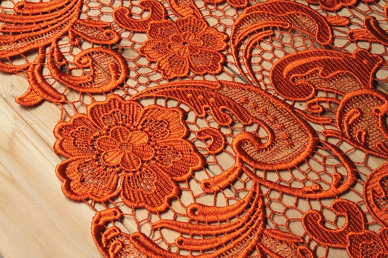 orange lace fabric venise lace crocheted lace fabric retro image 0