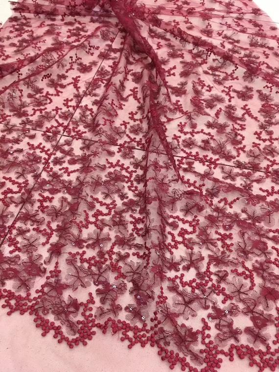 Wein rot Spitzenstoff mit 3d Blumen Französisch Spitze Stoff   Etsy ca314f9f8f