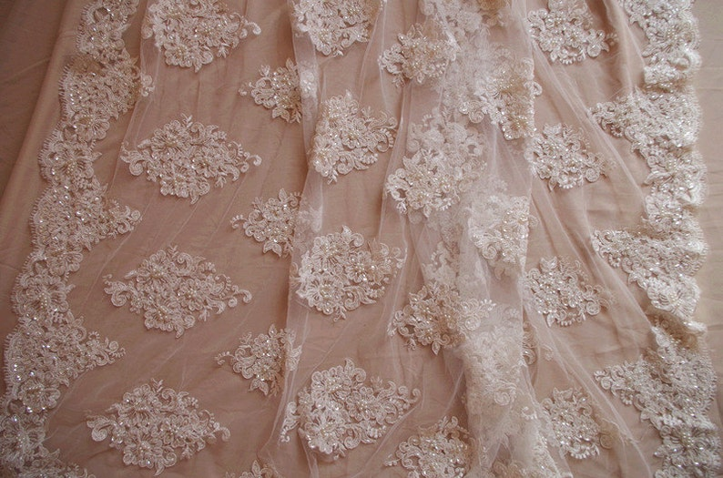 ivory bead lace fabric bridal lace fabric with beads and sequins