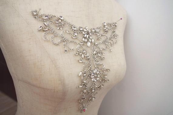 Passamanerie sposa strass applique con perline strass motivo