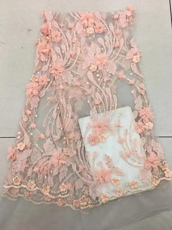 Pfirsich-Rosa-3d Spitze Stoff mit 3d Blumen französische   Etsy 20a392125d