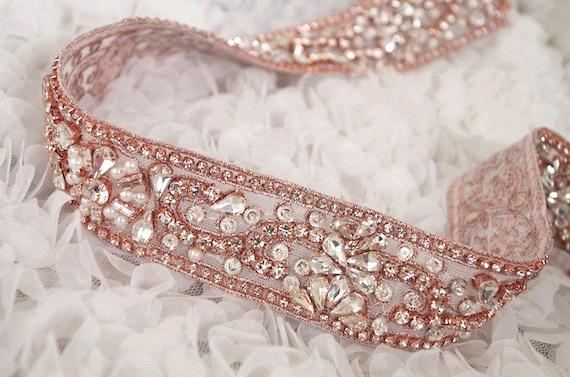 Rose or strass ceinture ceinture garniture, rose or cristal appliques de ceinture, ceinture de strass or rose, ceinture de mariage, fournitures d'artisanat guillotine