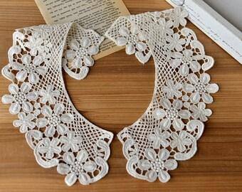 retro Cotton Lace Collar  applique, fake collar, vintage lace collar applique
