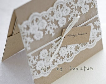 embroidered lace trim for wedding invitation, wscx004b