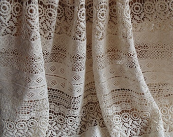 ivory cotton Lace Fabric, cotton crocheted lace fabric, antique style lace fabric, hollowed out lace fabric