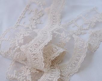 cream Cotton Lace trim, ivory embroidered lace trim  WSCX016M