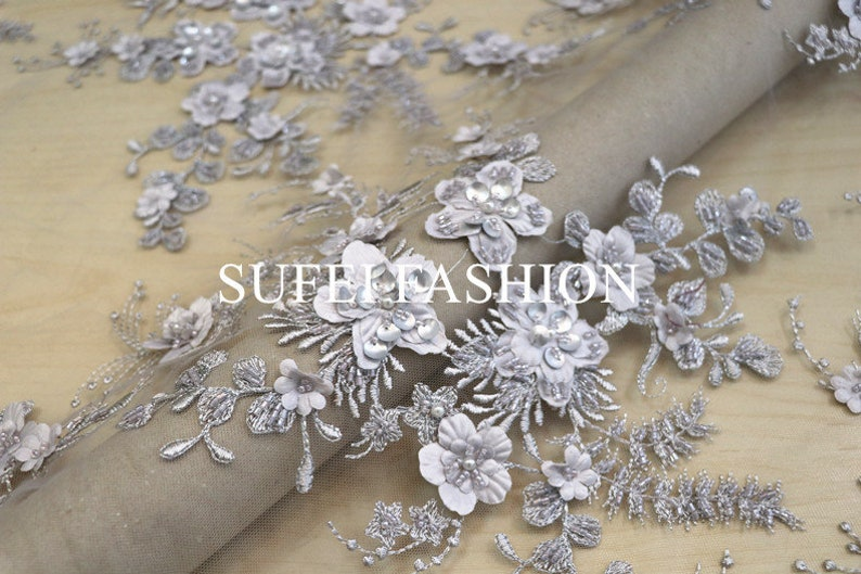 beading lace fabric by the yard for haute couture French grey 3D lace fabric with 3d flowers heavy bead lace fabric high end dress lace