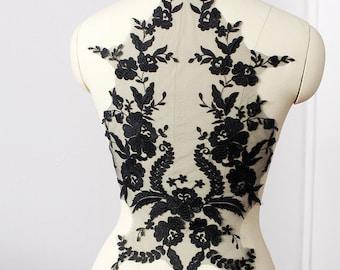 black Lace Applique,  embroidered bodice lace applique, lace bodice for bridal dress altering