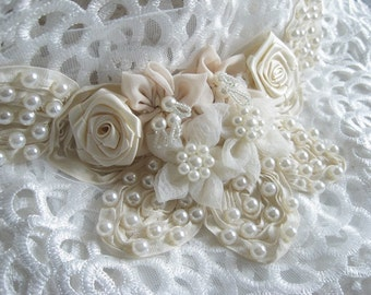 Ivory chiffon flower applique, Pearl Beading applique, corsage, on sale