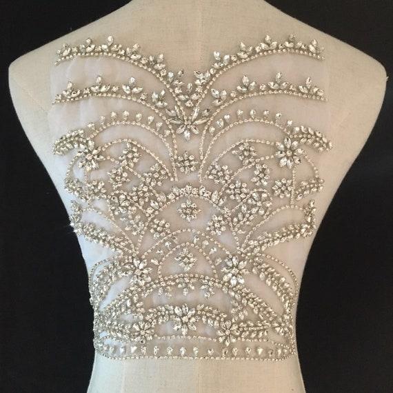 deluxe Rhinestone bodice applique for haute couture crystal  08fe01e70d3c