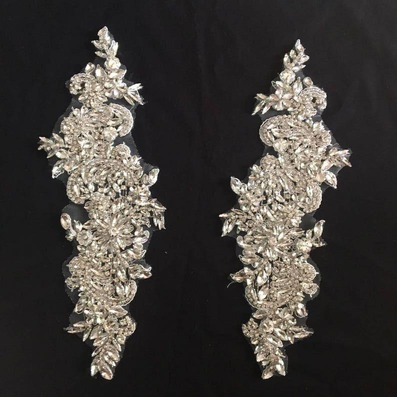 Rhinestone bead applique bridal headpiece heavy bead handmade rhinestone applique for bridal sash
