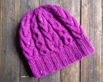 6ae9362b Women's knit hat, fuchsia winter hat, knitted hat, winter women's hat, wool  payet hat, women's knit hat, women blue beanie, gift for her