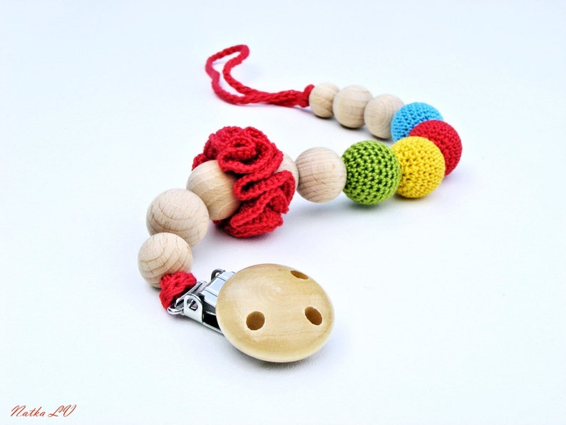 Pacifier Clip Crochet Pacifier Holder Dummy Chain Rainbow Etsy