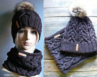Knit hat and cowl, knitted wool women set, wool hat with natural fur pompom, knit wool cowl, scarf hat set, dark brown, outdoor gift for her