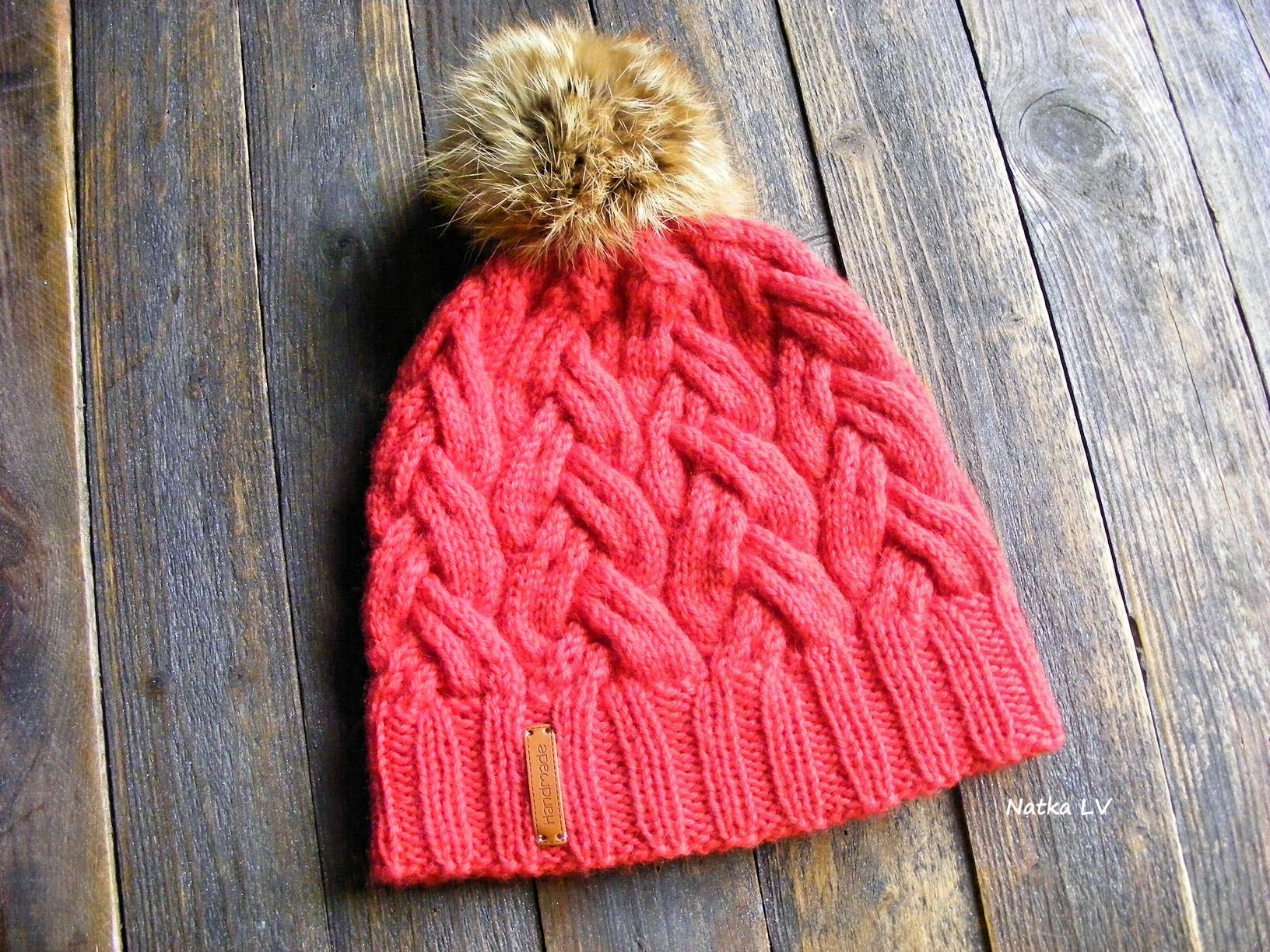 a9d5bb5d2f4 Red wool hat knit winter hat wool hat with natural fur