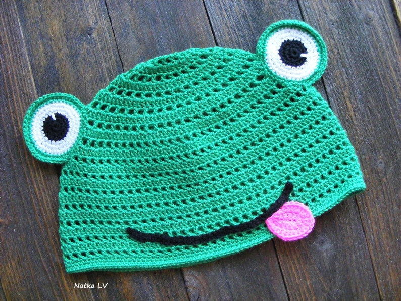 eff477c00f6 Frog crochet hat summer children s hat funny kid s