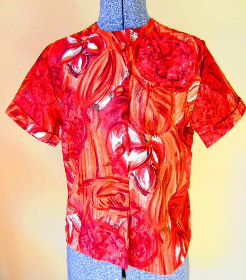 Vintage 50s Red Blouse by Gregory