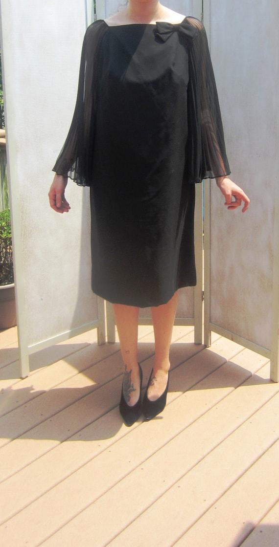 Vintage 50s Black Chiffon Wing Dress - image 3