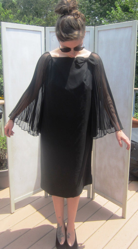 Vintage 50s Black Chiffon Wing Dress