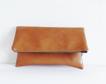 Vegan leather clutch, Leather clutch purse, Cognac brown clutch, Zipper clutch, Foldover clutch, Toffee brown clutch, Honey brown clutch