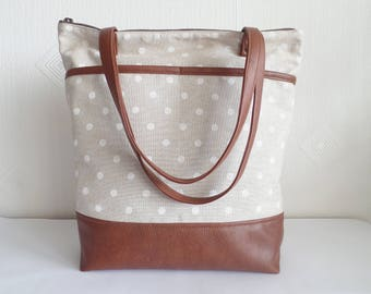 Large leather and canvas polka dot tote bag, Diaper bag, Zippered tote bag, Laptop bag, Carry all tote bag, Work bag, School bag, Book bag