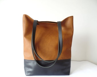 Leather tote bag, Large everyday casual tote bag, Cognac brown and black vegan leather colorblock shoulder bag with real leather handles