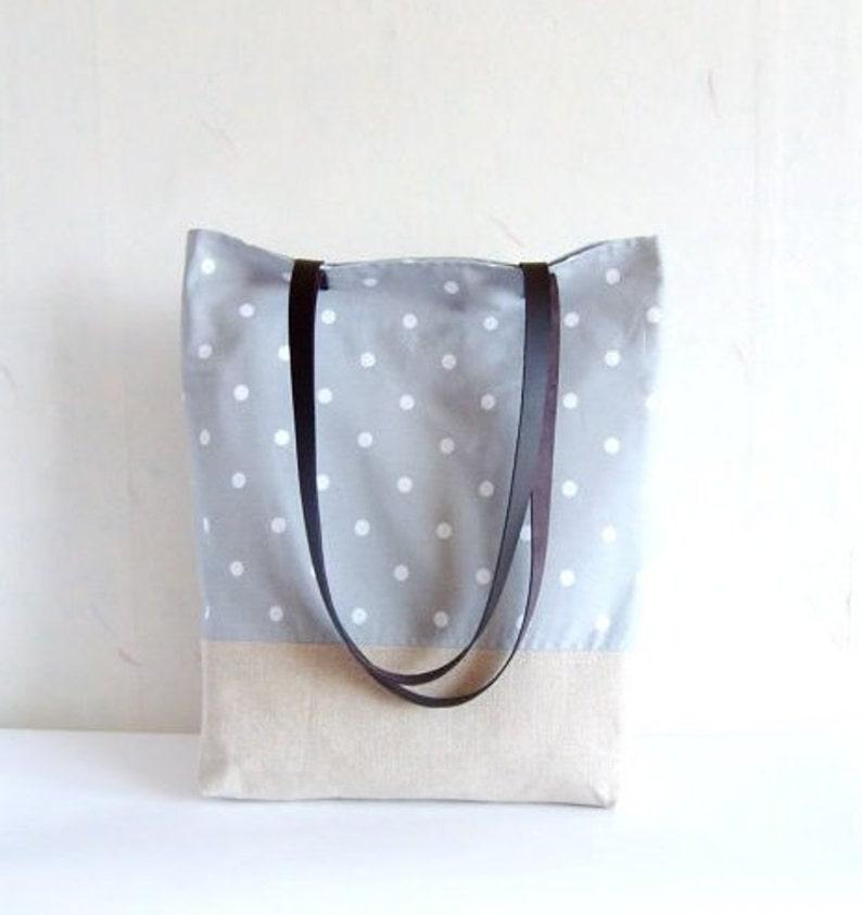 Polka dot tote polka dot bag grey tote bag linen tote image 0