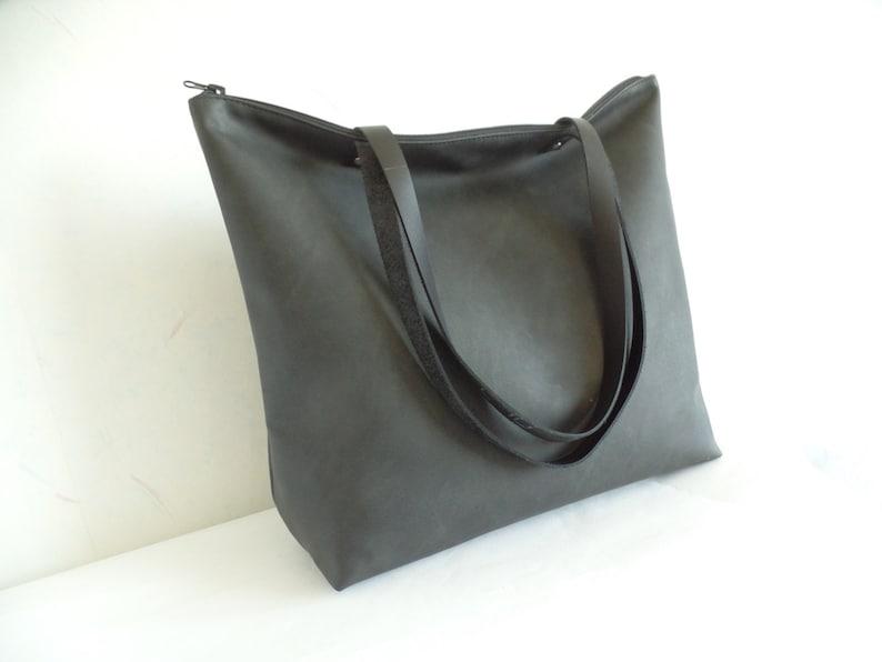 b68966c146 Large vegan leather zipper tote bag Black leather tote Real