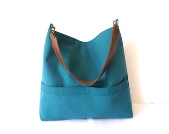 Linen hobo shoulder bag, Petrol blue linen and cotton tote bag with real leather handle, Summer tote bag,