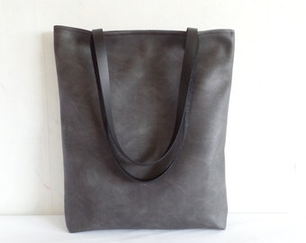 Leather tote bag, large tote bag, vegan leather tote, graphite gray tote bag, Charcoal grey tote purse, Real leather handles, Laptop bag