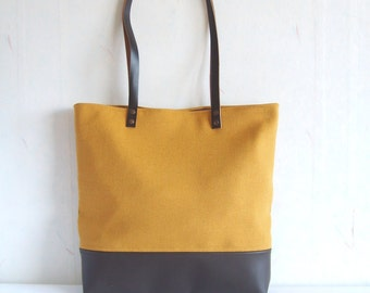 Leather and canvas tote bag, real leather bag, mustard yellow tote bag, real leather handles, shoulder bag, school bag