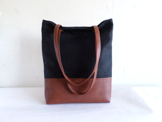 22afcd316a9a Cotton and leather tote bag, Large everyday casual tote bag, Canvas and  vegan leather tote purse, Winter shoulder bag, Black and brown tote