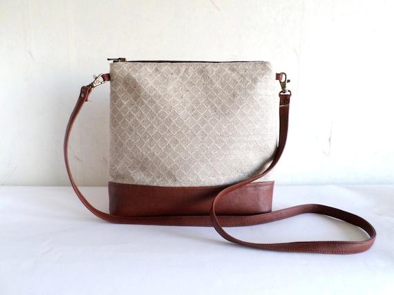 14bb0de8eb63 Crossbody leather bag, Linen cross body bag, Geometric print tote bag,  Messanger bag, Vegan leather bag, Brown bag