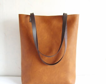 Large vegan leather cognac brown tote bag with real leather handles
