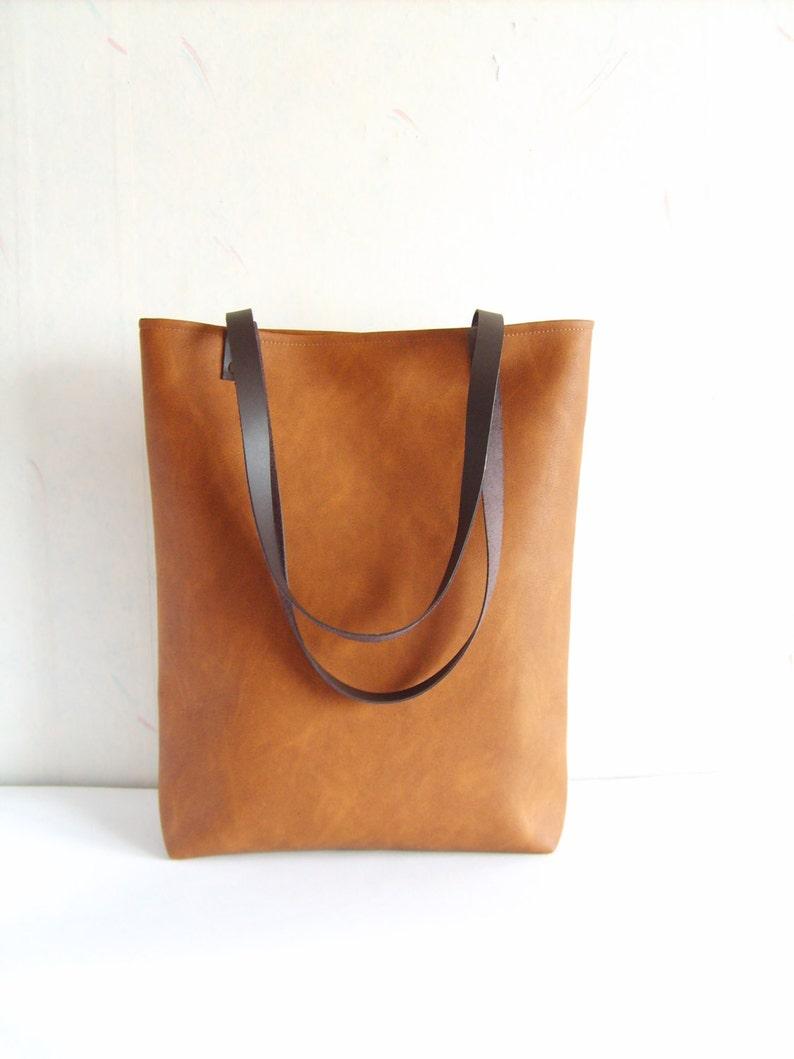 Vegan leather tote bag Leather shoulder bag Top handle bag image 0