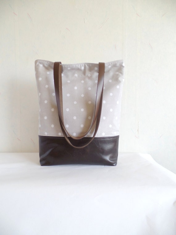 c2d5df4f13 Polka dot tote bag leather and canvas tote sandy beige tote