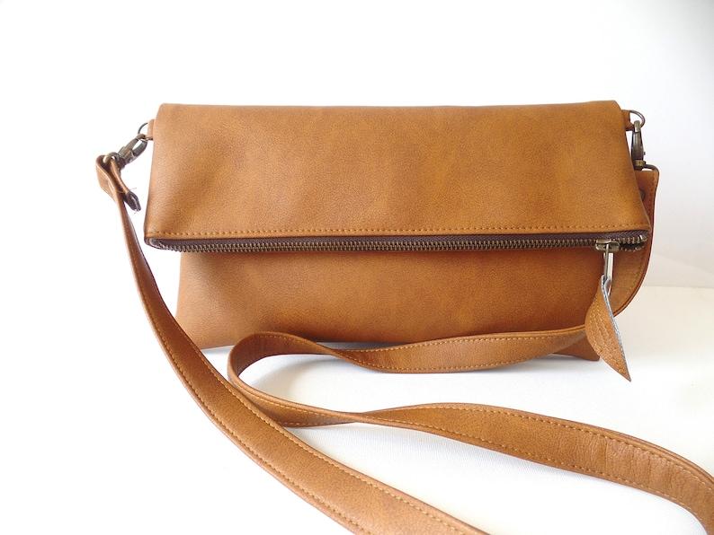 buy best where to buy hot-selling newest Crossbody leather bag, Tan leather crossbody bag pusre, Zippered foldover  crossbody bag, Vegan leather crossbody bag, Cognac brown bag