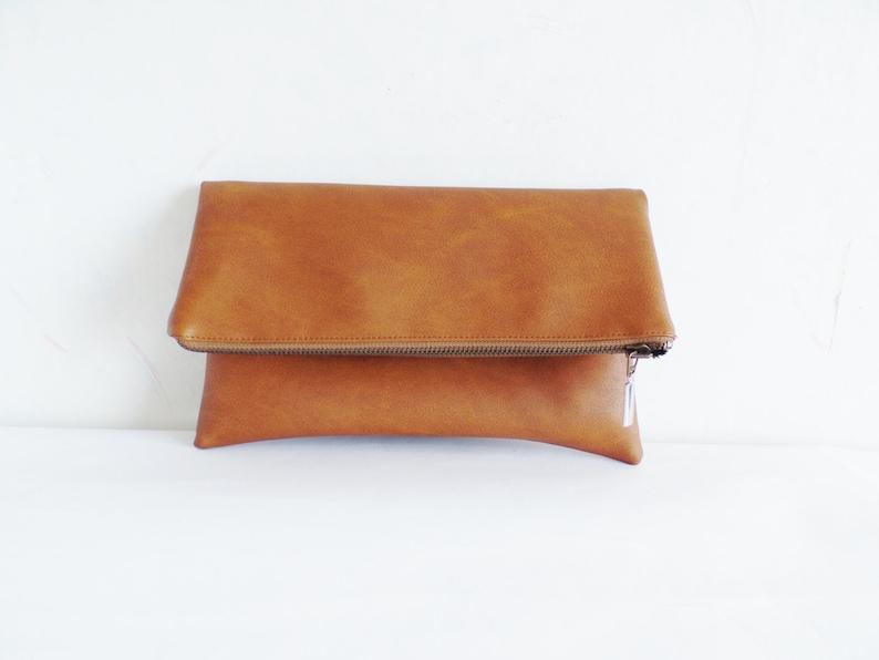 Vegan leather clutch Leather clutch purse Cognac brown Cognac brown
