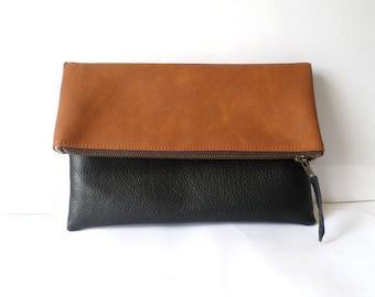 Leather clutch, Vegan leather colorblock clutch, Foldover clutch purse, Zippered clutch bag, Black and Brown clutch, Everyday casual clutch