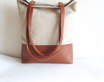 Leather tote, linen tote, geometric print tote bag,  caramel brown vegan leather and natural linen tote bag