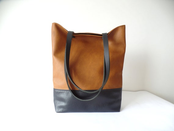 Leather tote bag Large everyday casual tote bag Cognac brown   Etsy e5a41d0d0d
