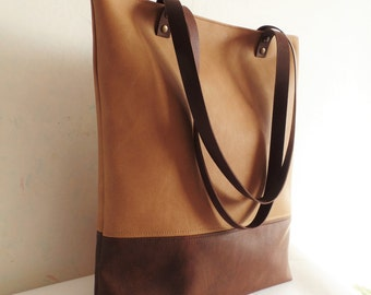 Leather tote bag, Large tote bag, Vegan leather tote, sandy beige, toffee, brown tote bag, real leather handles, Laptop bag, Work office bag