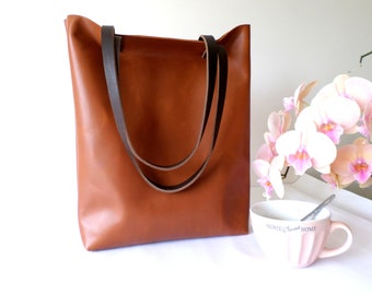 Leather tote, Real genuine  leather large everyday casual shoulder tote bag in saddle cognac brown with dark chocolate brown handles