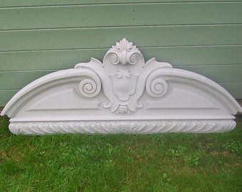 Large Antique Painted French Carved  Pediment  / Bed / Wall / Fronton.