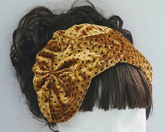 Yellow velvet headband, Fabric headbands, Wide headband, Hair bow headband, Adult headband, Elegant headband, Fancy headband, Gift for women